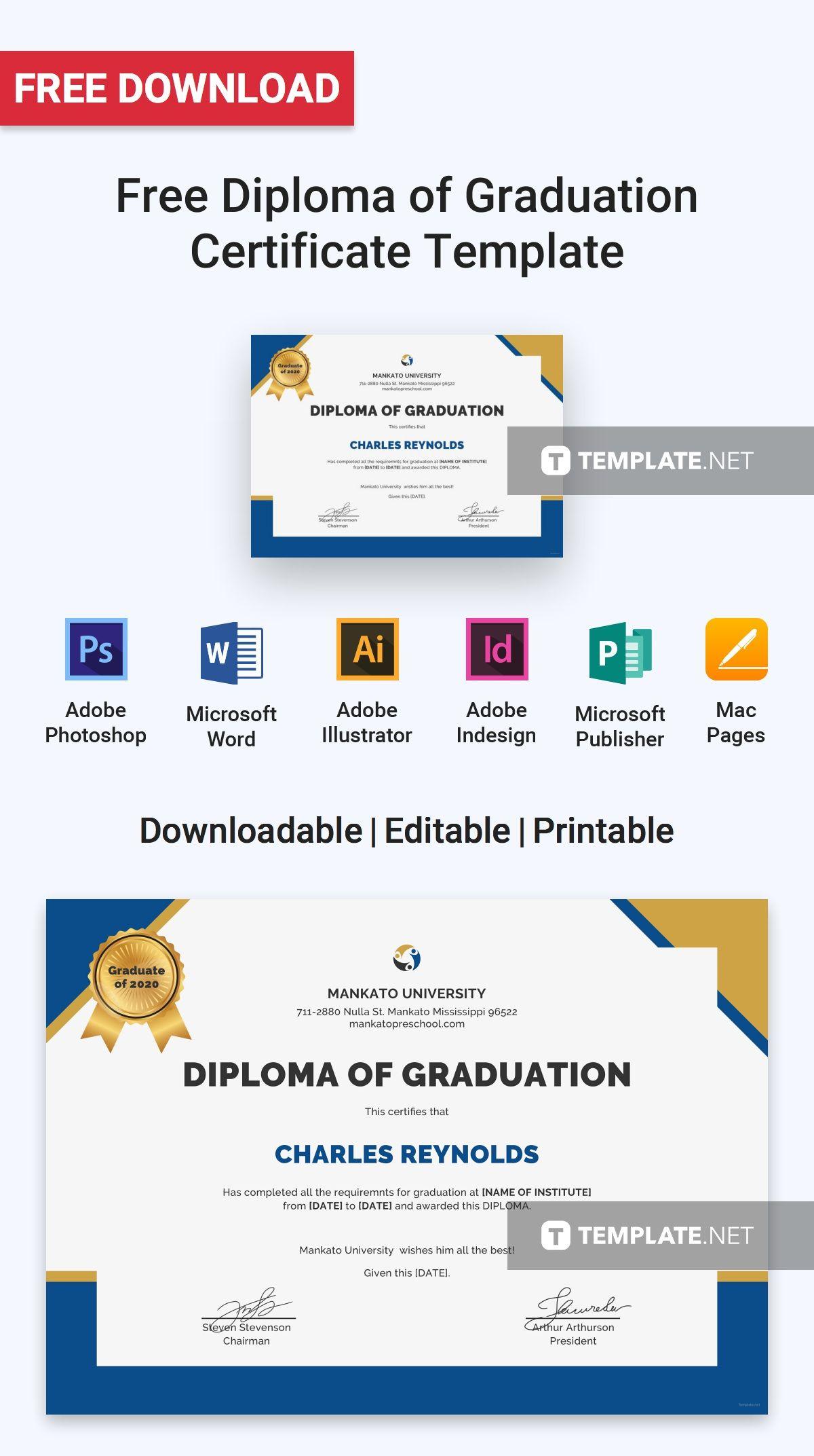 Free Diploma Of Graduation Certificate Free Certificate Templates