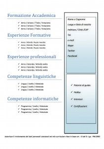 Curriculum Vitae Da Scaricare Online E Compilare Con Imagenes