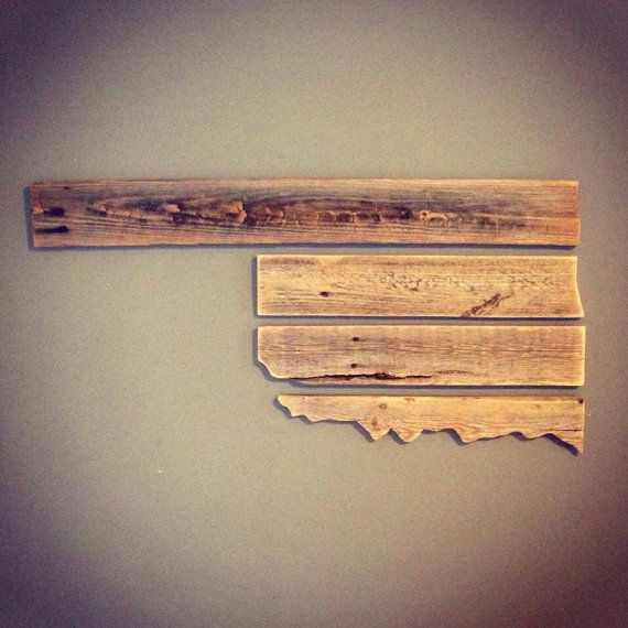 Home Decor Tulsa: 4 Piece Wooden Oklahoma Wall Decor 3ft By 2.5ft By