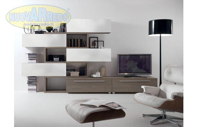 Prezzo: € 1090 parete attrezzata minimal finitura larice grigio ...
