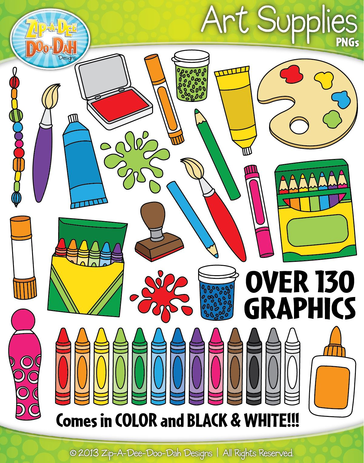 hight resolution of art supplies clipart set over 130 graphics