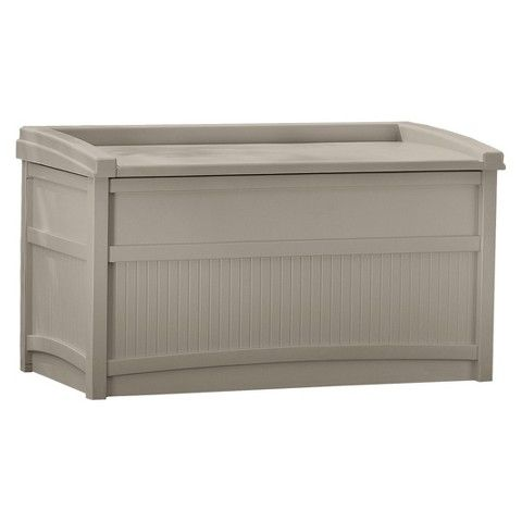 50gal Premium Deck Box With Seat Tan Suncast Outdoor Storage Box Patio Storage Deck Box