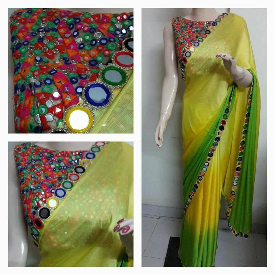 Lehenga blouse design in golden color and mirror work - Saree And Mirror Work Bl More