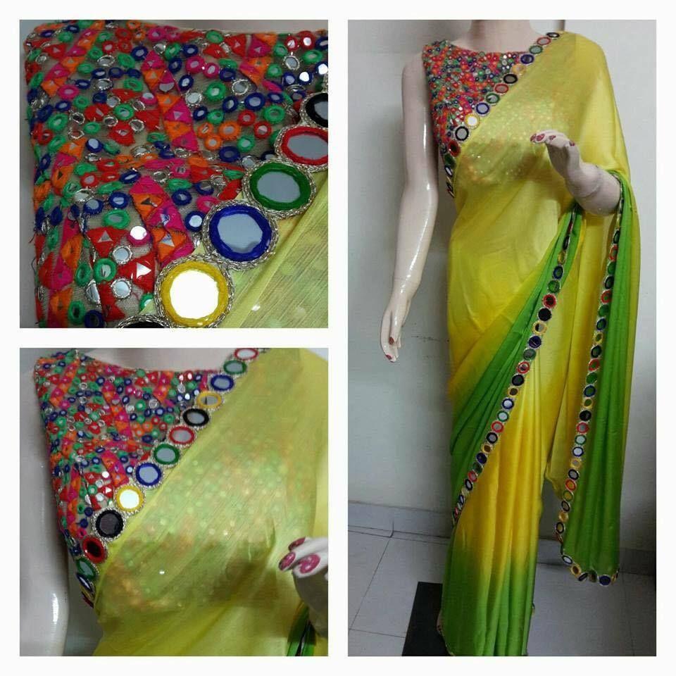 c1616f195f0e9c Saree and mirror work bl … | Saree ... ethnic | Blous…