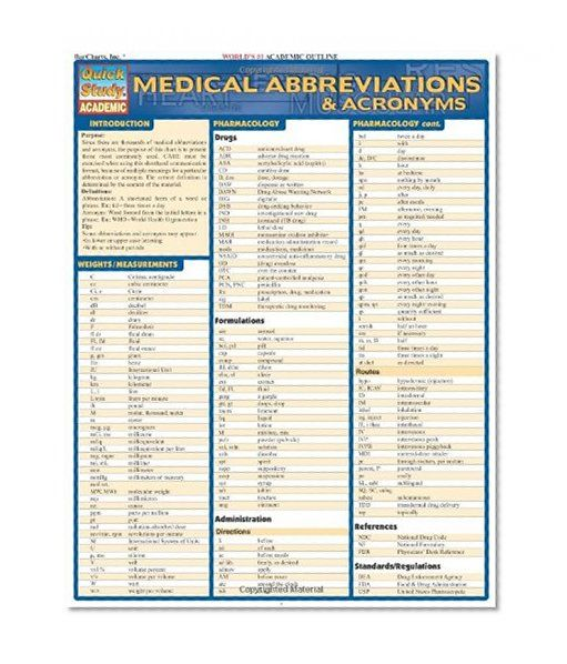 Book Cover Medical Abbreviations Acronyms Quick Study Academic