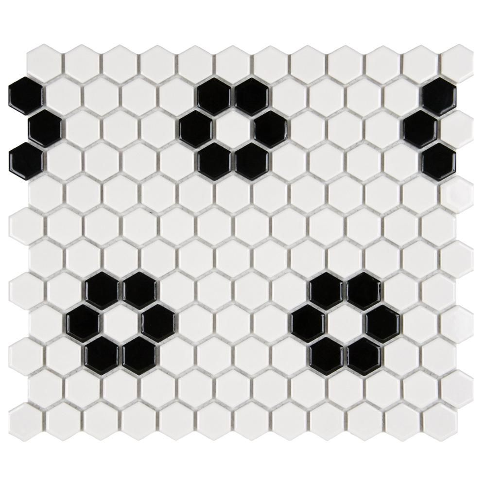 Merola Tile Metro Hex Glossy White With Heavy Flower 10 1 4 In X