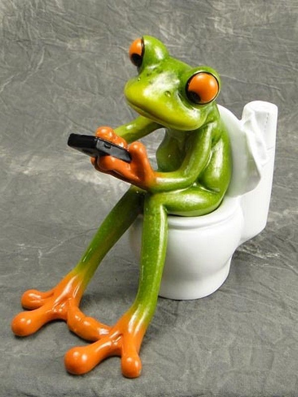 """Green Frog Texting On Phone On Toilet Figurine 4.25/"""" High Resin New"""