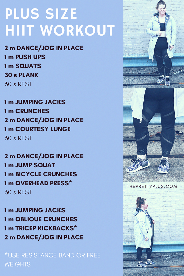 2018 Fitness Goals Plus Size Hiit Workout The Pretty Plus Hiit Workout Routine Hiit Workout Plus Size Workout