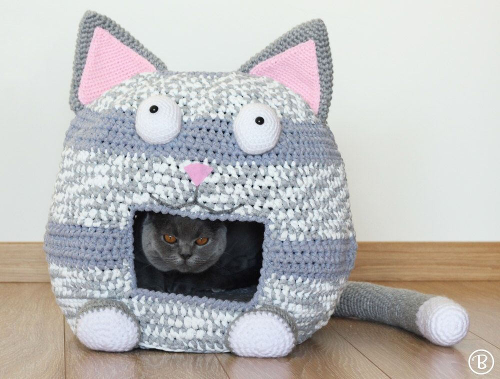 Pattern Crochet Cat Bed Cave Kitty Kat House T Shirt Yarn Crafts