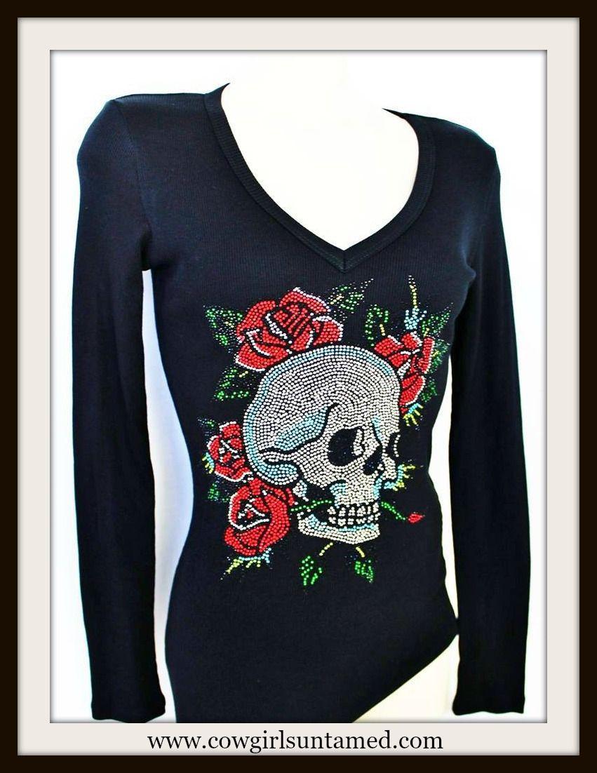 COWGIRL GYPSY LS TEE Rhinestone Skull & Rose Ribbed V Neck Western Shirt Top
