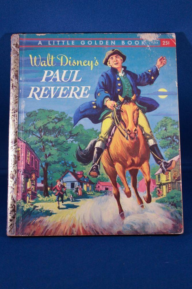 1957 Vintage Little Golden Book Walt Disney Paul Revere First Edition Hardcover #LittleGoldenBooks