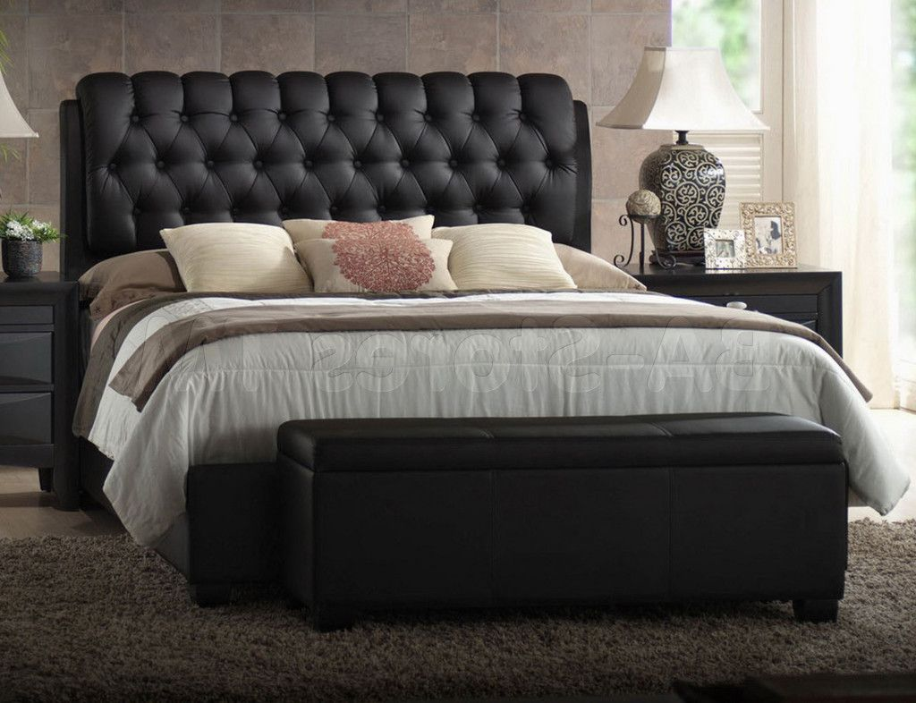 Bedroom Decorations Immaculate Black Leather Tufted Headboard With Cool Three Cushions And Sweet White Cover Bedd Black Headboard Black Leather Bed Leather Bed