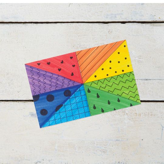 How about this fun twist on the traditional color wheel? Add designs and doodles to each color m...