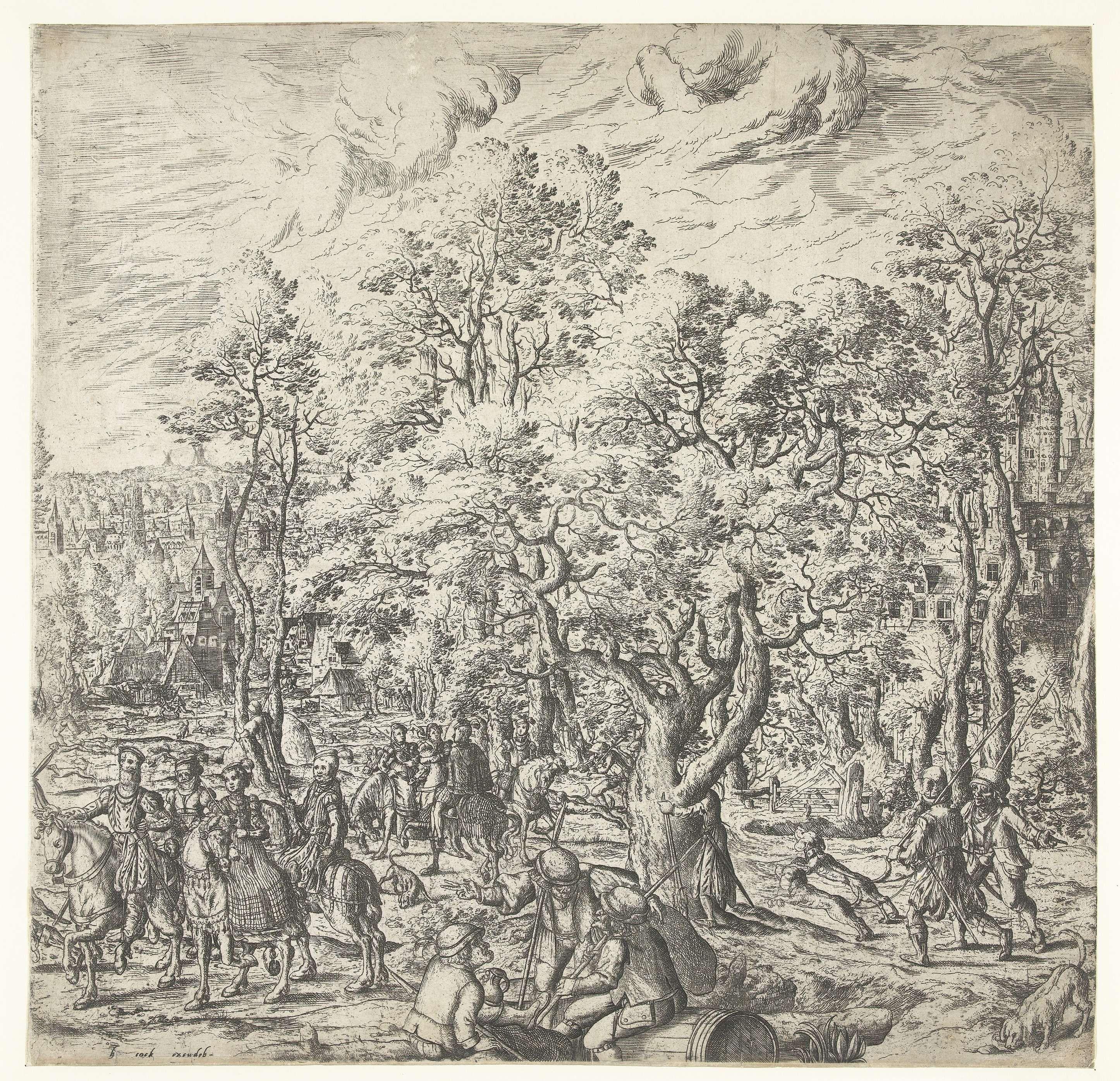 Hans Bol | Hertenjacht, Hans Bol, Hieronymus Cock, c. 1560 - c. 1570 | Rechter deel van een tweeluik met een hertenjacht. Een groepje mannen en vrouwen te paard kijkt naar de jacht. Boeren brengen de jachthonden naar het startpunt. Een ander groepje boeren zit uit te rusten. De jacht wordt getoond op het linker gedeelte.