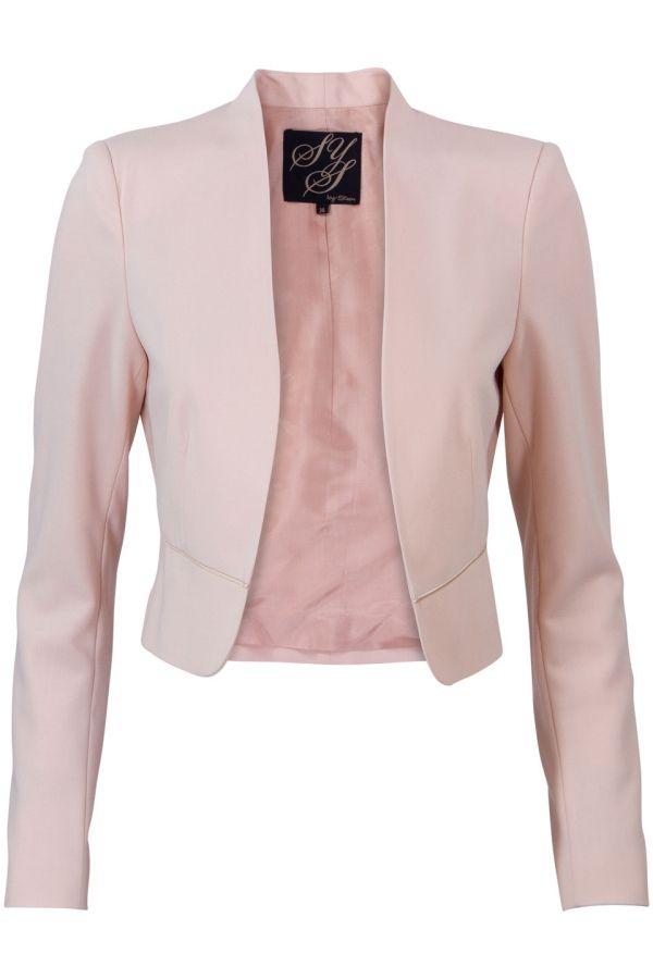 Gevoerde korte blazer Licht Roze