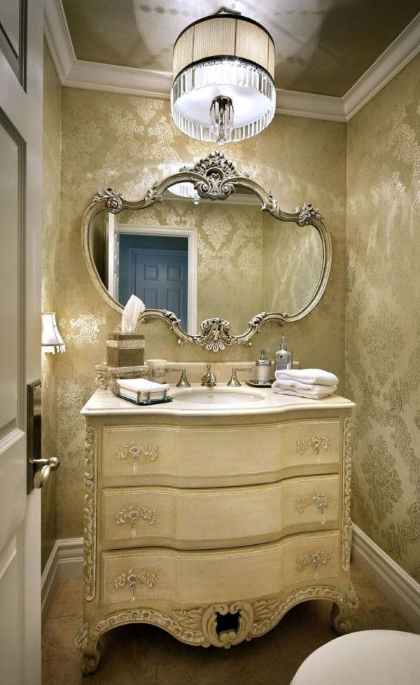 lovely powder room vanities high end with decorative carved mirror powder rooms powder. Black Bedroom Furniture Sets. Home Design Ideas