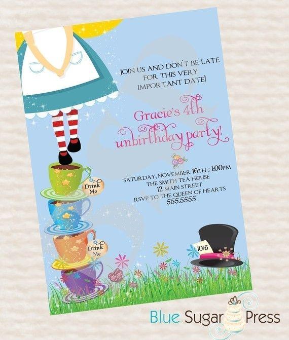 Personalized Birthday Party Alice In Wonderland Invitations Printable DIY 1000 Via Etsy