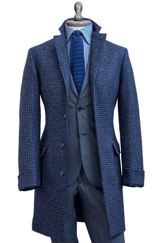 Italian elegance and layering for dandy men - Pied de Poule Baby Llama Wool #Coat - #MONTEZEMOLO