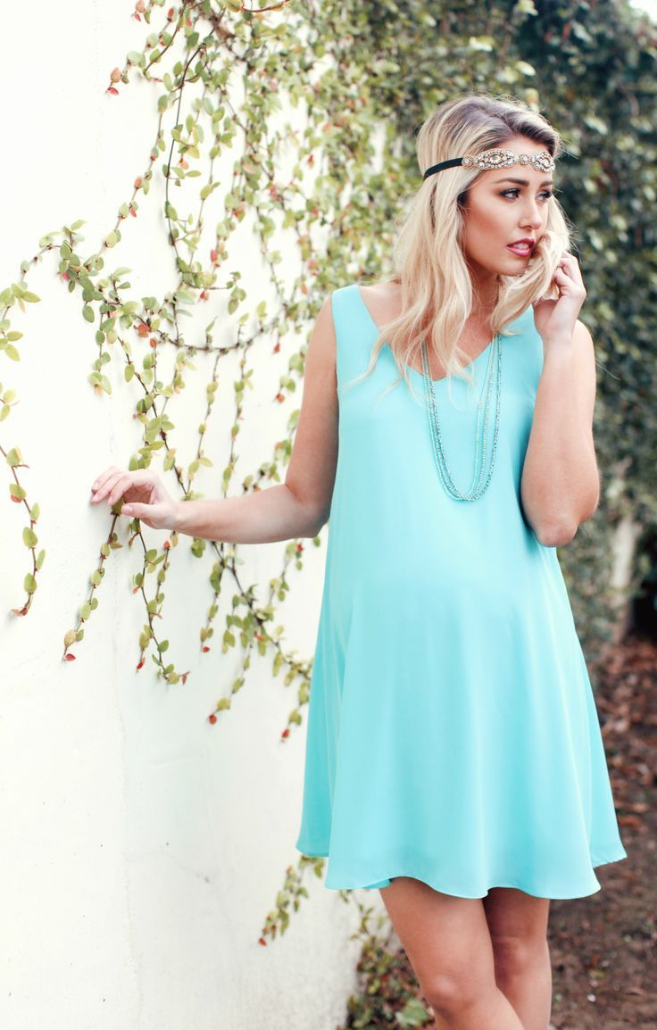 Basic aqua chiffon maternity dress maternity dresses