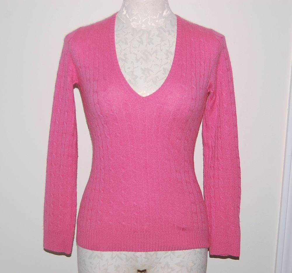 J CREW 100% Cashmere Pink Cablekit V-Neck Sweater XS #JCREW #VNeck ...