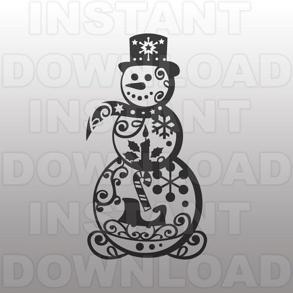 Snowman Filigree Svg File Swirly Snowman Svg File By Sammo