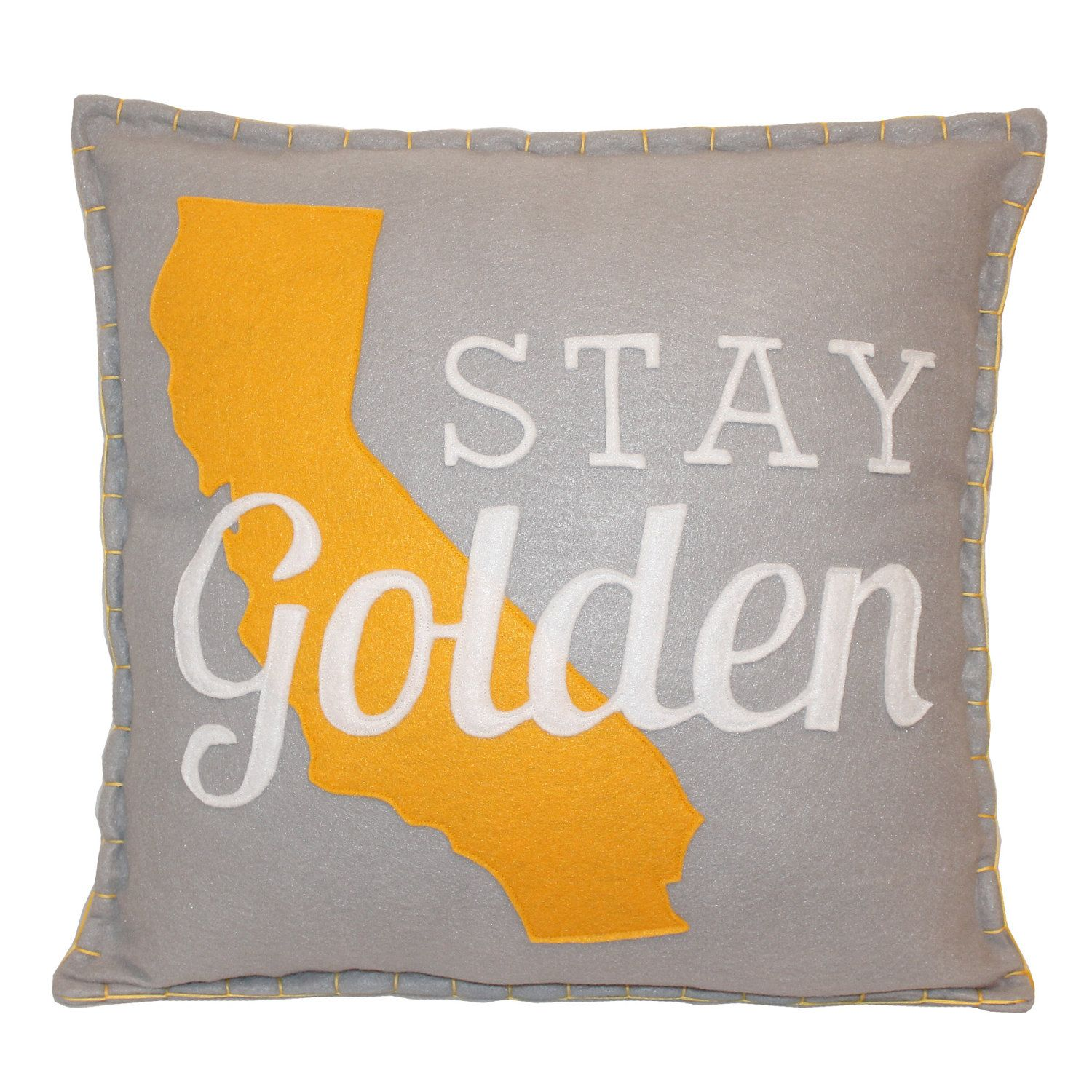 RESERVED Stay Golden California Eco Felt Pillow   Sometimes I Craft ...