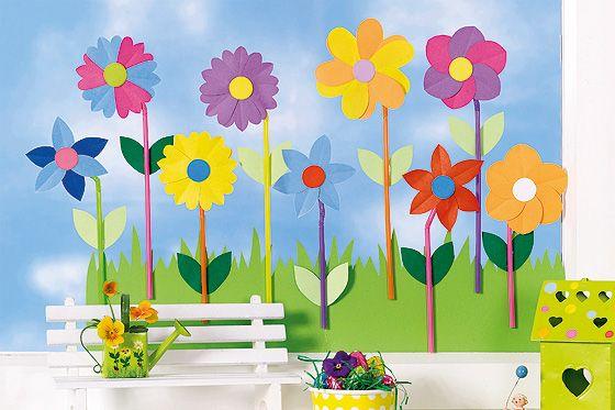 Tischdeko frühling basteln mit kindern  Fensterdeko für den Frühling: Bunte Blumenwiese | Oz verlag ...