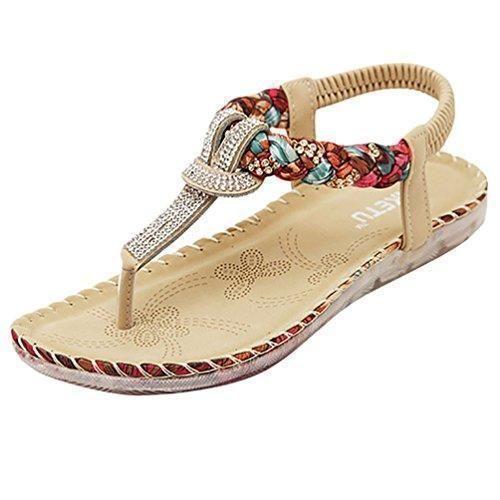 Oferta: Comprar Ofertas de Minetom Mujer Moda Sandalias Nuevo Bohemio  Estilo Zapatos Verano Talón Plano Zapatillas Khaki 41 barato. ¡Mira las  ofertas!
