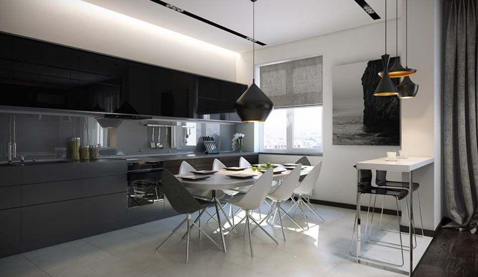 Salle à manger design dans un petit appartement de ville moderne