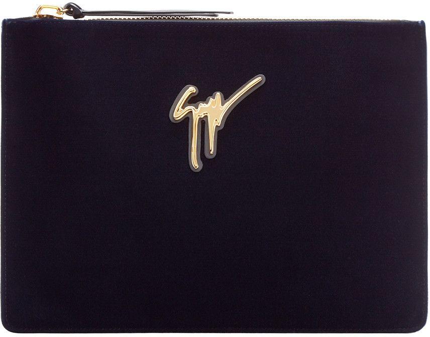 GIUSEPPE ZANOTTI Navy Velvet Veronika Pouch. #giuseppezanotti #bags #leather #velvet #pouch #accessory