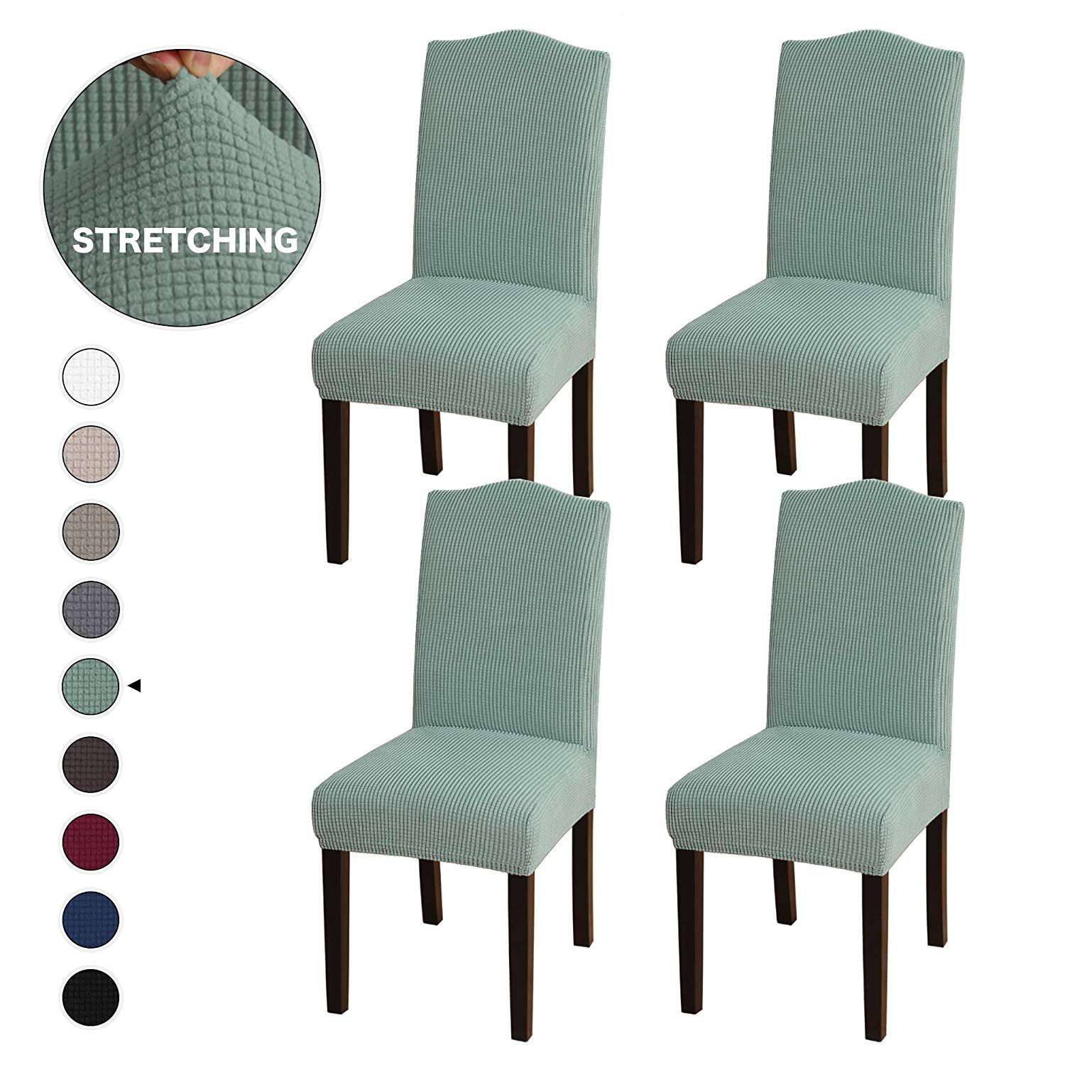 Turquoize Stretch Removable Washable Chair Covers Solid High Dining Room Chai Slipcovers For Chairs Dining Room Chairs Upholstered Dining Room Chair Slipcovers
