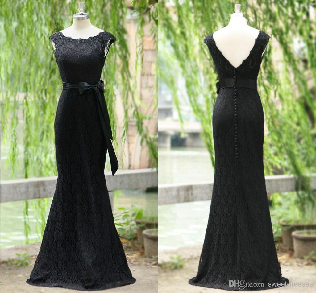 black mermaid evening dresses with peplum cap sleeves mother of