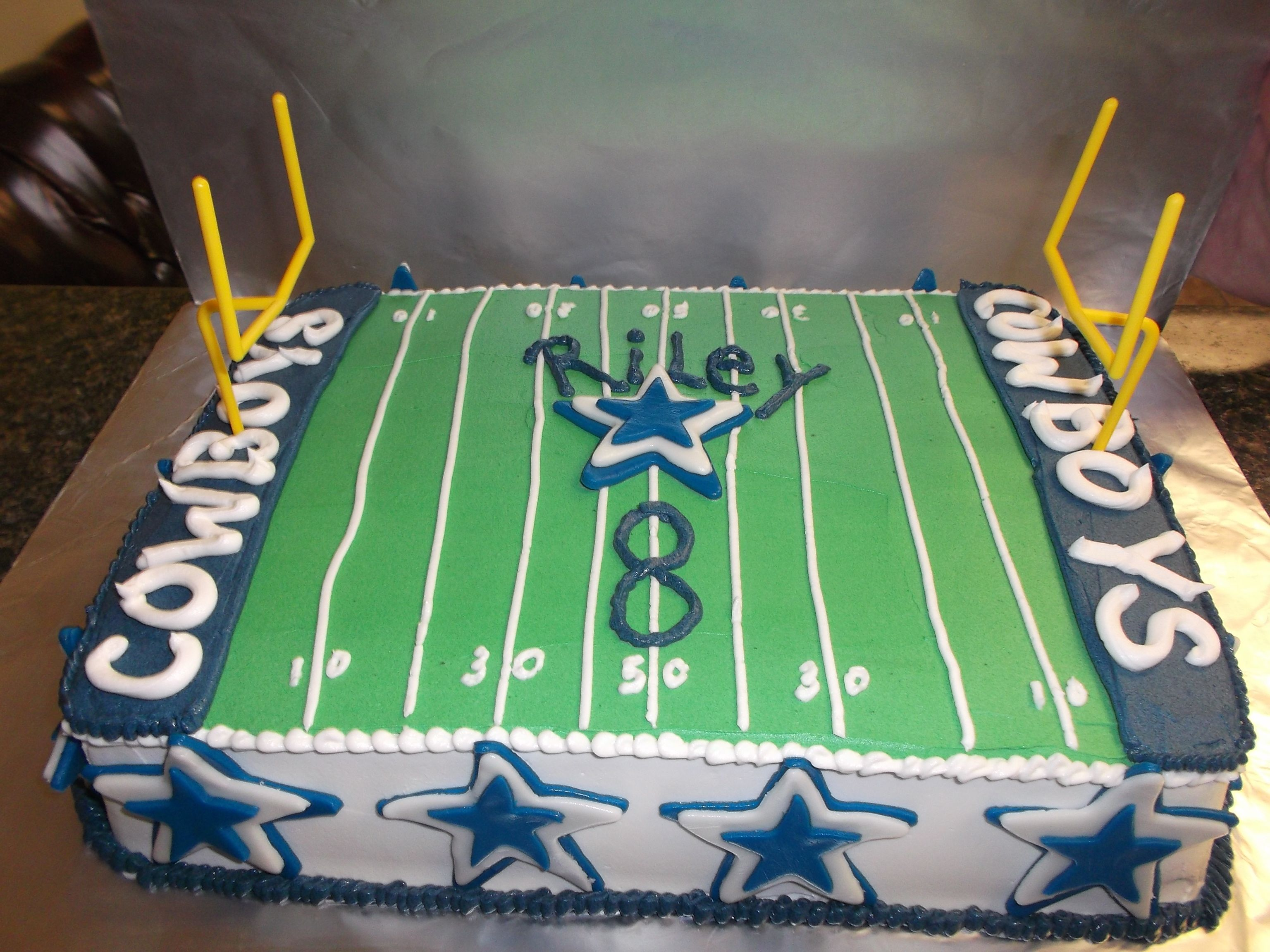 Dallas Cowboys Football Field Birthday Cake In Homemade Buttercream With