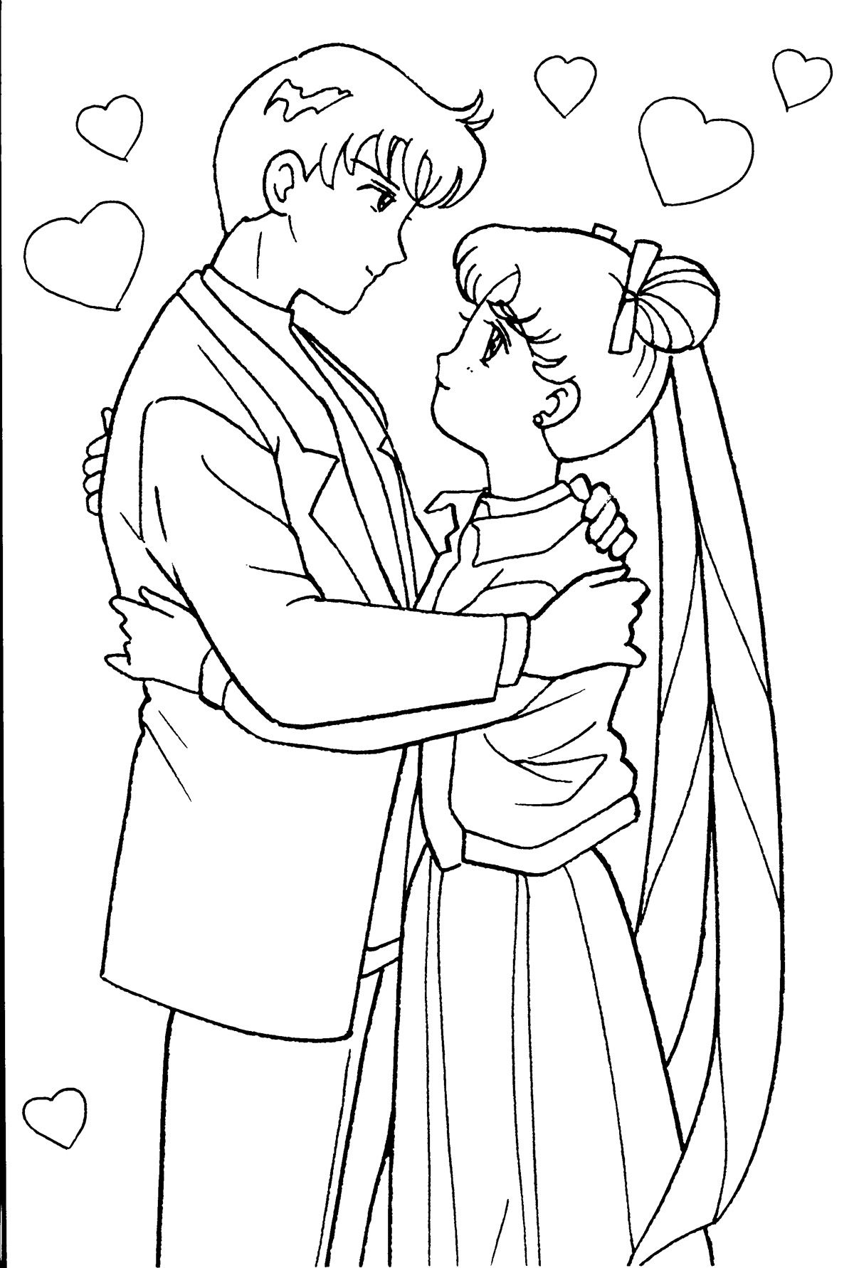 Mamoru and Usagi Coloring Page // #sailormoon | SM coluring pgs ...