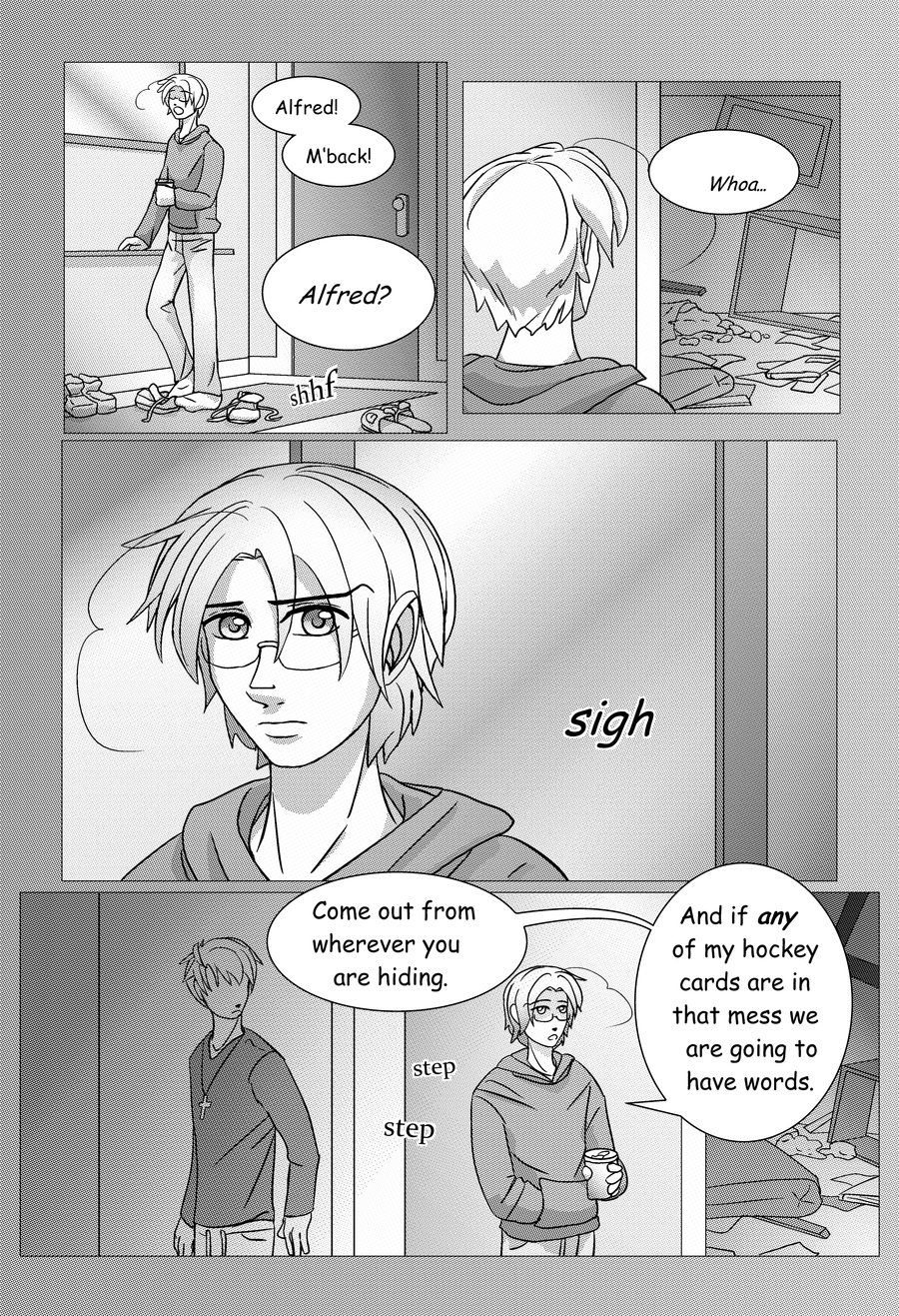 APH-Morning Pick Me Up pg1 by TheLostHype.deviantart.com on @deviantART - First page of a short fan-comic made to celebrate Canada Day and Independence Day. Whoa...what happened to that room? Alfred...did you do this?