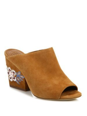 3f3bd69fb0f07 TORY BURCH Embroidered Suede Wedge Mules.  toryburch  shoes  sandals ...