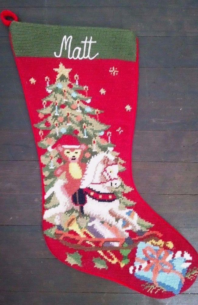 Needlepoint Christmas Stocking Teddy Rocking Horse Tree Gifts Monogrammed Matt