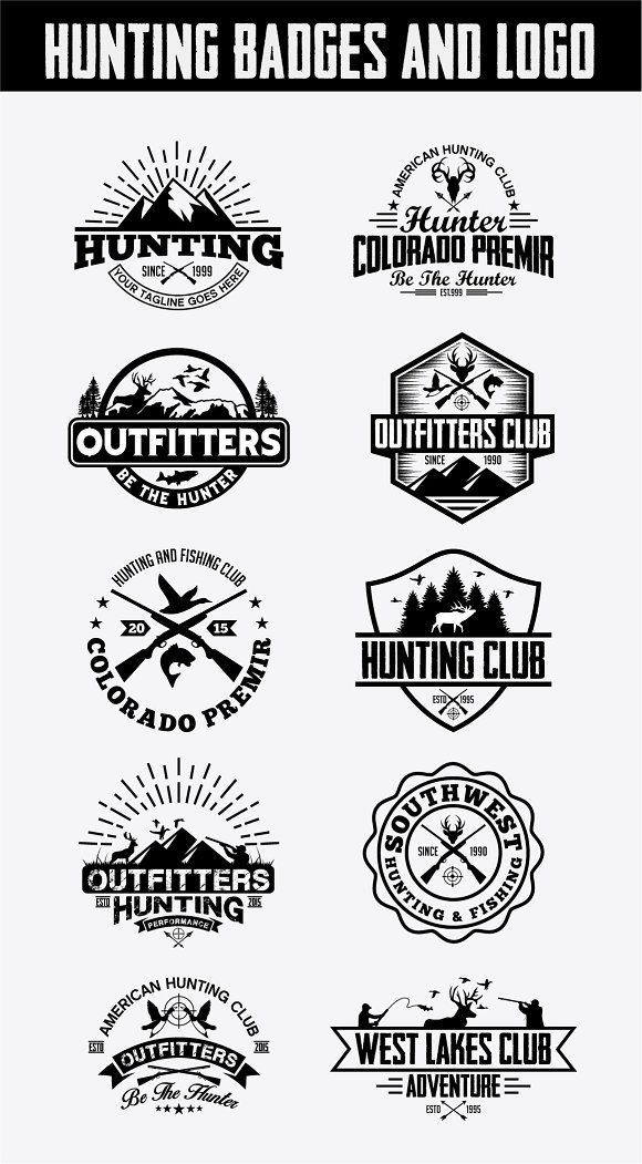 Hunting Vintage Badges and Logos by shazi on @creativemarket is part of Logos -