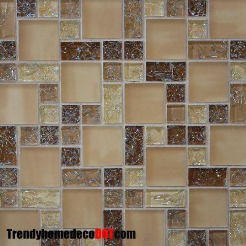Sample- Brown Crackle Glass Mosaic Tile Kitchen Backsplash Bath Wall