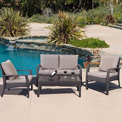 GHP 4-Pc Brown Rattan Outdoor Garden Cushioned Tea Table & Chairs ...