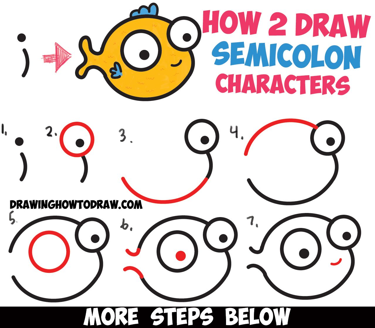 How to draw a cute easy cartoon fish from a semicolon simple step by step drawing tutorial for kids