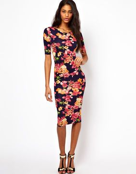 ShopStyle by POPSUGAR: ASOS Oh My Love Midi Bodycon Dress in Floral Print £30