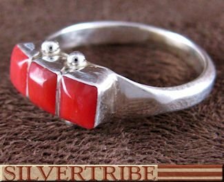 Zuni Indian Coral And Silver Ring GS56288