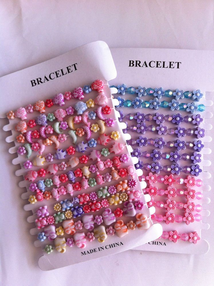 12 Pretty Bead Bracelet Girls Bag Filler Children/'s Birthday Party Favour 12B