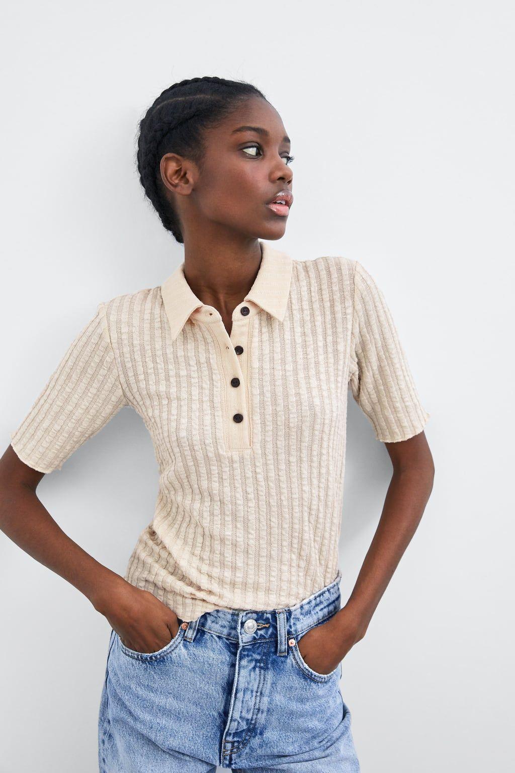 T shirt med polo krave i 2020   Zara, Dame og T shirt