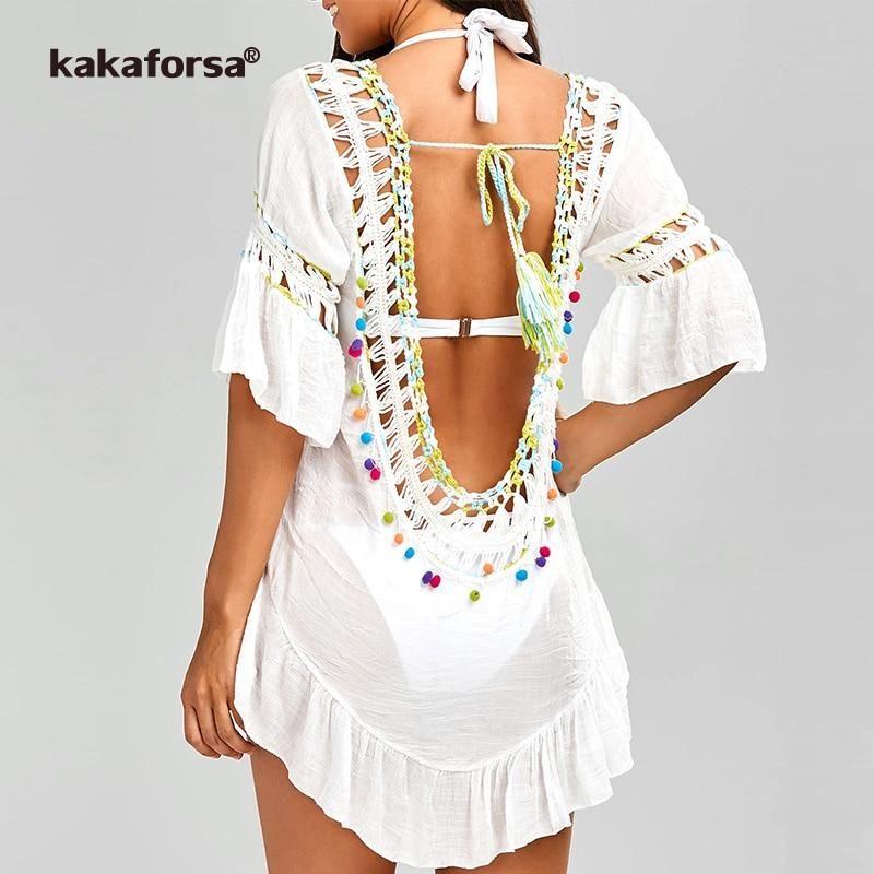 c945df43d7b1f Kakaforsa 2019 Sexy Crochet Beach Cover Up Open Back Summer Beach Dress  Cotton Ruffle Ball Swimwear