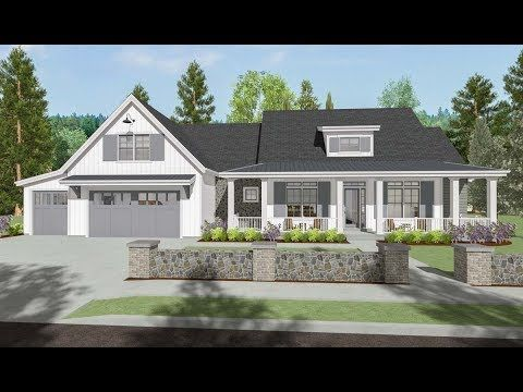 wide front porch wraps around the of this delightful and modern farmhouse house plane huge open floor plan inside is just what today   families also sc country with exterior options optional rh pinterest