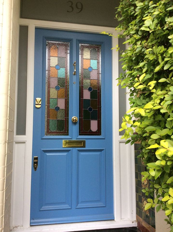 Riffel Road Willesden Green Period Glazed Hardwood Polished Chrome Farrow And Ball Cooks Blue Eggshe Stained Glass Door Blue Front Door Front Door Colors