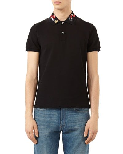 61814aac9ae0 GUCCI Snake & Bee Embroidered-Collar Polo Shirt, Black. #gucci #cloth #
