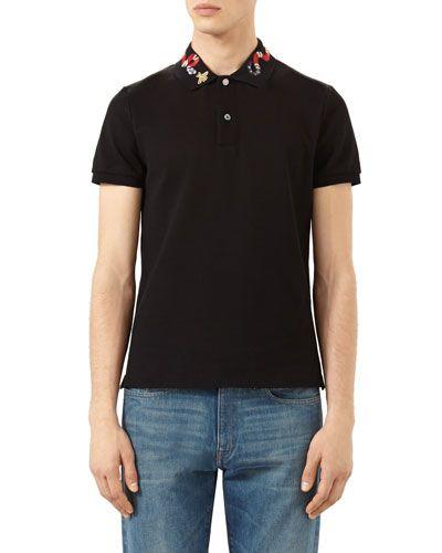 b1c9ecfb GUCCI Snake & Bee Embroidered-Collar Polo Shirt, Black. #gucci #cloth #